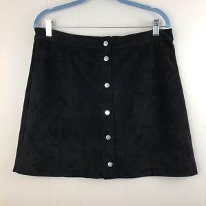 H&M A-Line button front faux suede skirt